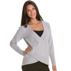Lucy Crossover Faux Wrap Gray Sweatshirt Top